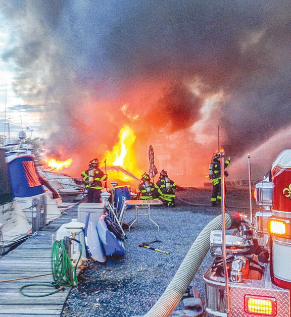 Flames Consume Boats in East Patchogue