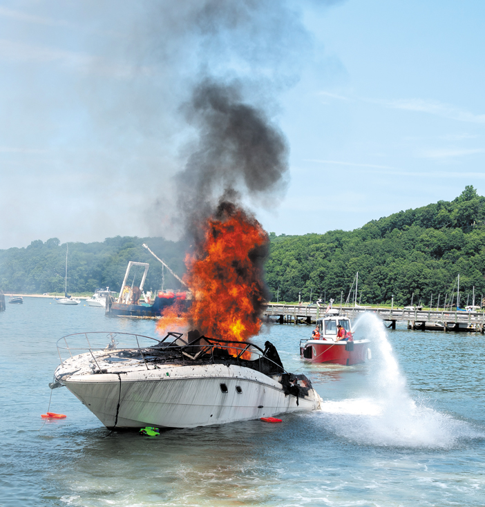 Boat Burns in Port Jefferson Harbor