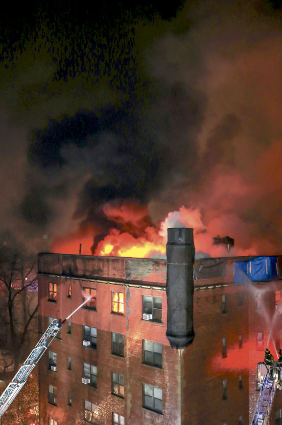 Flames Light the Sky in Yonkers