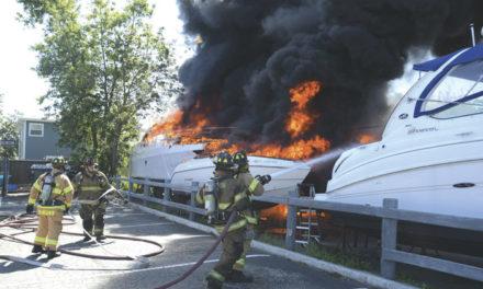 1 Burned at Babylon Boat Fire