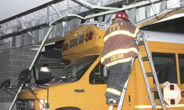 Bus Into Building in Freeport