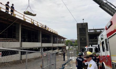 Construction worker requires a rope rescue in Cincinnati