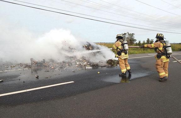 Trash Truck Fire in Rehoboth Beach
