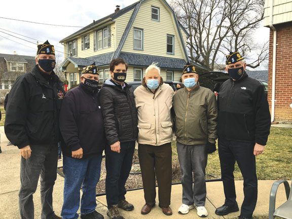 Lynbrook Fire and Police Honor World War II Veteran on His Birthday