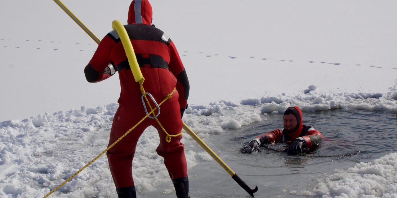 OVERLAND PARK (KS) FIREFIGHTERS CONDUCT ICE RESCUE TRAINING
