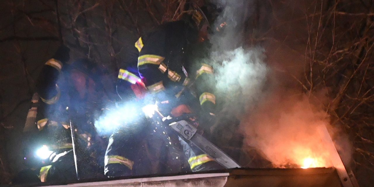 HADDONFIELD (NJ) FIREFIGHTERS BATTLE 2-ALARM BLAZE AT 190 YEAR OLD HOUSE