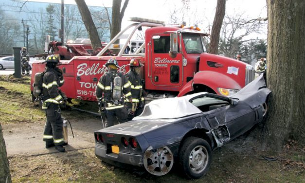 Tow Truck and Corvette Crash in Lynbrook