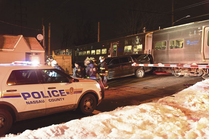 Train Hits Empty SUV in West Hempstead