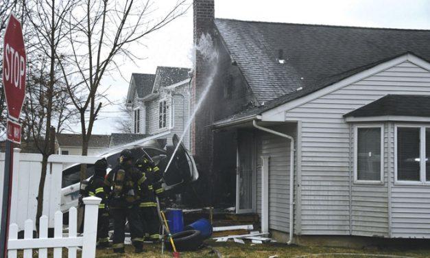 North Babylon Car into House, Fire