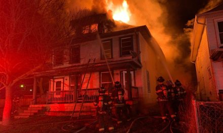 FIREFIGHTERS BATTLE BLAZE AT VACANT DOUBLE RESIDENCE