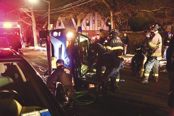 Driver Pinned in Franklin Square