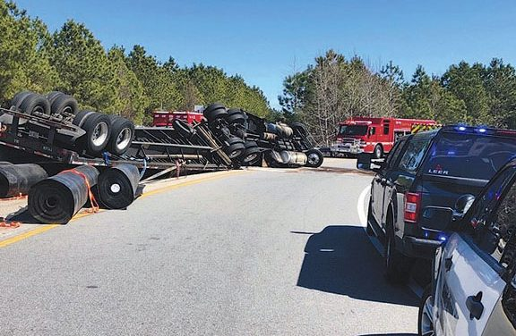 Overturned Tractor Trailer Closes Suffolk Bypass