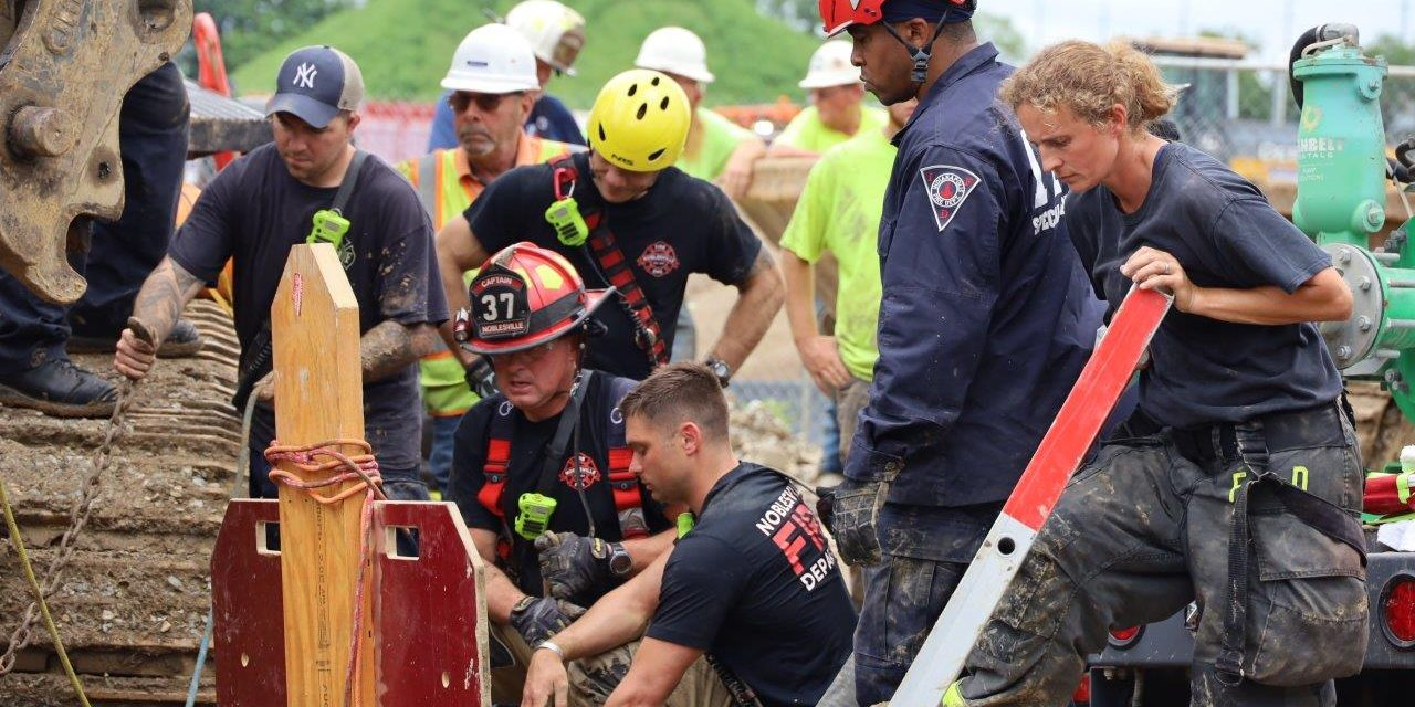 MULTIPLE CREWS PUT TO WORK AT NOBLESVILLE (IN) TRENCH RESCUE