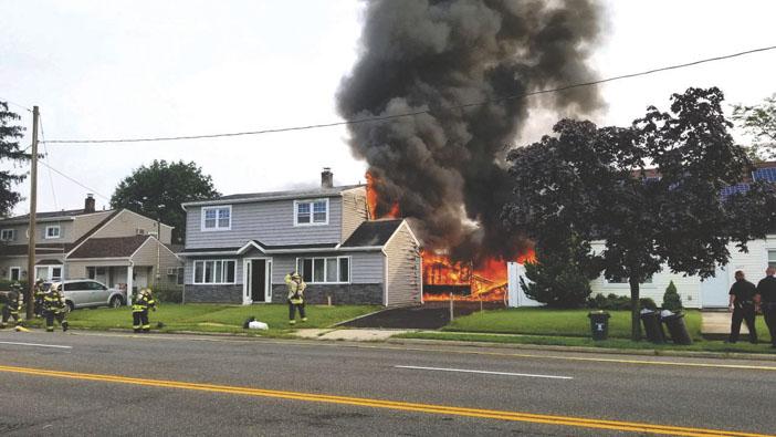 Levittown House Fire Extends