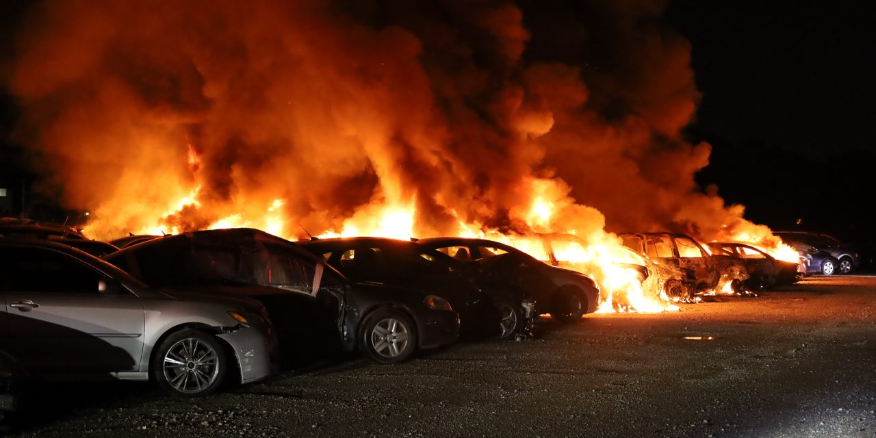 FIREFIGHTERS FROM MULTIPLE DEPARTMENTS BATTLE BLAZE AT INDIANA AUTO YARD
