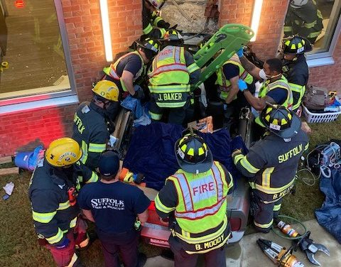 VIRGINIA CREWS RESPOND TO VEHICLE INTO BUILDING WITH ENTRAPMENT